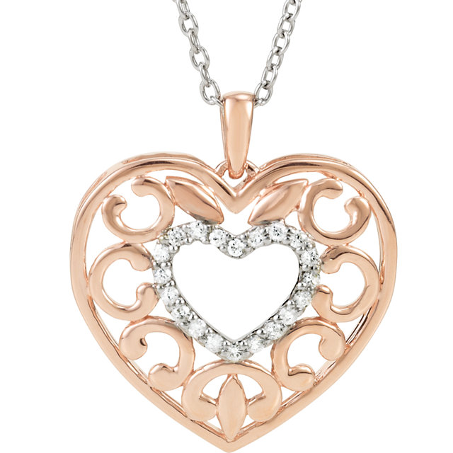 14K Rose Gold-Plated Sterling Silver 1/10 CTW Diamond 18