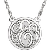 15mm 3-Letter Script Monogram Necklace
