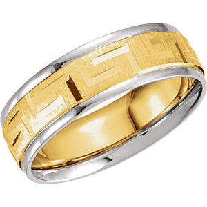 Two-Tone 7mm Comfort-Fit Greek Key Design Band