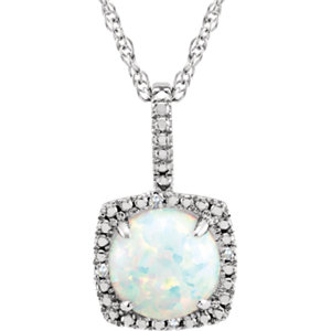 "Sterling Silver 7mm Lab-Grown Opal & .015 CTW Diamond 18"" Necklace"