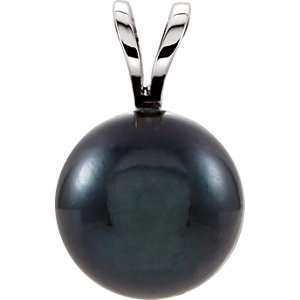 14kt White 7mm Black Akoya Pearl Pendant
