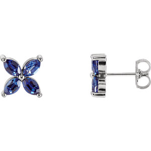14kt Rose Ahatham®<br> Areated Blue Sapphire<br> Earrings