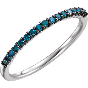 14K White 1/6 CTW Blue Diamond Stackable Ring