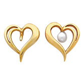 Heart  Button Earring Mounting for Pearl  Center