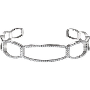 "14K White 3/4 CTW Diamond Cuff 6 1/4"" Bracelet"