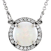 Opal & Diamond Halo-Styled Necklace