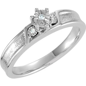 Sterling Silver .03 CTW Diamond Illusion Engagement Ring Size 7