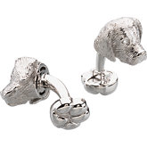 Sterling Silver / Rhodium Plated Heart U Back™ Golden Retriever Cuff Links