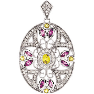 Pink & Yellow Sapphire & Diamond Pendant