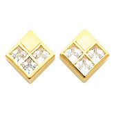 3-Stone Earring Mounting for Square/Princess Center