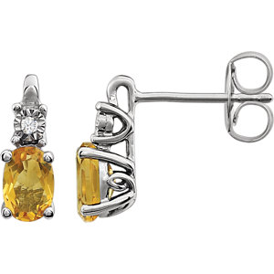 14kt White Aitrine & .  <br> ATW Diamond Accented<br> Earrings