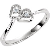 .02 ct tw Diamond Double Heart Ring
