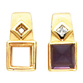Bezel-Set Earring Mounting for Square/Princess Center