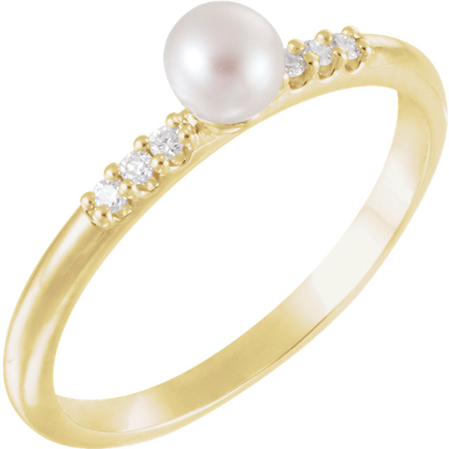 14K Yellow Freshwater Cultured Pearl & .05 CTW Diamond Ring