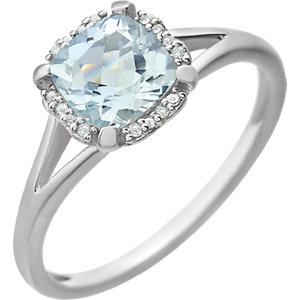 14kt White Aquamarine & .<br> 5 ATW Diamond Ring