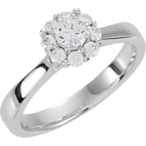 .50 CTW Diamond Halo Styled Cluster Engagement Ring