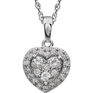 Halo-Styled Diamond Heart Necklace