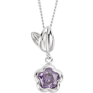 BFlower™ Purple CZ Flower Necklace with Gift Box