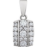 Diamond Rectangle Cluster Pendant