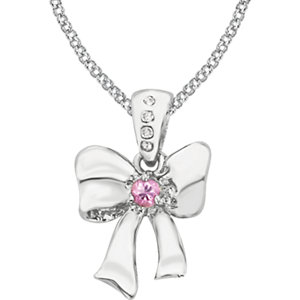 "Sterling Silver Pink Sapphire & .02 CTW Diamond Bow 14"" Necklace"