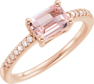 14kt Rose Morganite & 1/10 CTW Diamond Ring