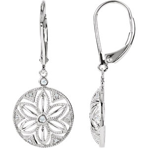 Sterling Silver .   ATW Diamond Lever Back Earrings