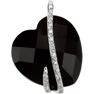 Genuine Onyx & Diamond Heart Pendant