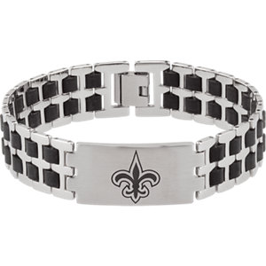 Stainless Steel and Rubber New Orleans Saints Logo 8 inch Bracelet Ref BRC452