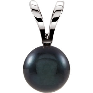 14kt White 6mm Black Akoya Pearl Pendant