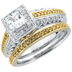 14kt White & Rose 1/10 CTW Yellow Diamond Band