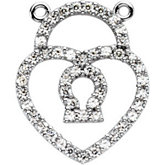 Petite Heart Shape Lock  Necklace Center Mounting