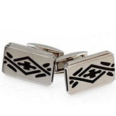 Stainless Steel Cuff Links with Black Ion Plate Inserts