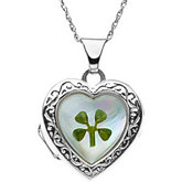 Mother of Pearl Heart Shaped Locket with Four Leaf Clover