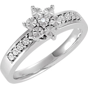 Sterling Silver .005 CTW Diamond Illusion Engagement Ring Size 7
