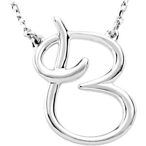 """Sterling Silver """"B"""" Script Initial 16"""" Necklace"""