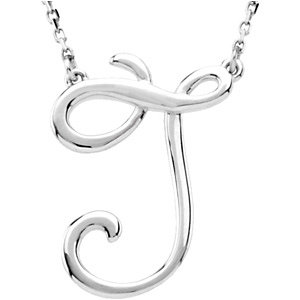 """Sterling Silver """"J"""" Script Initial 16"""" Necklace"""