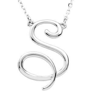 """Sterling Silver """"S"""" Script Initial 16"""" Necklace"""