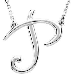 """Sterling Silver """"P"""" Script Initial 16"""" Necklace"""