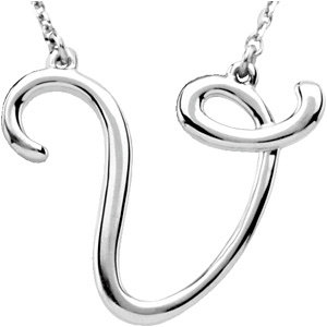 """Sterling Silver """"V"""" Script Initial 16"""" Necklace"""