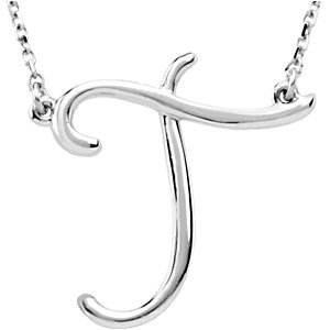 """Sterling Silver """"T"""" Script Initial 16"""" Necklace"""