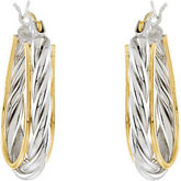 14KY & Sterling Silver Metal Fashion Hoop Earrings