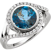 London Blue Topaz & Diamond or Semi-Mount Ring