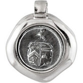 Black Nickel Plated Sterling Silver Wax Seal Crest Set Into a Sterling Silver Coin Frame