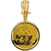 1/20 oz Gold Panda Coin Set in 14KT Yellow Coin Frame
