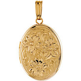 Oval Locket with Floral Pattern