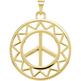 Sun Shaped Peace Sign Pendant