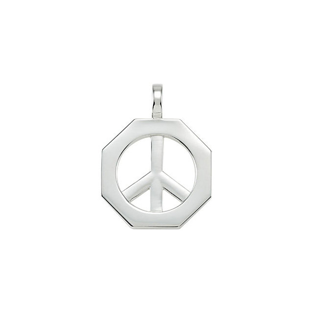 Octagon Shaped Peace Sign Pendant