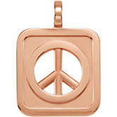 Rectangle Shaped Peace Sign Pendant