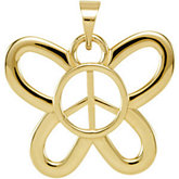 Butterfly Shaped Peace Sign Pendant