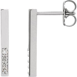 14K White .07 CTW Diamond Geometric Dangle Earrings